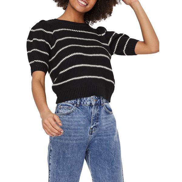 ヴェロモーダ レディース ニット&セーター アウター Striped Puffed-Sleeve Sweater Black