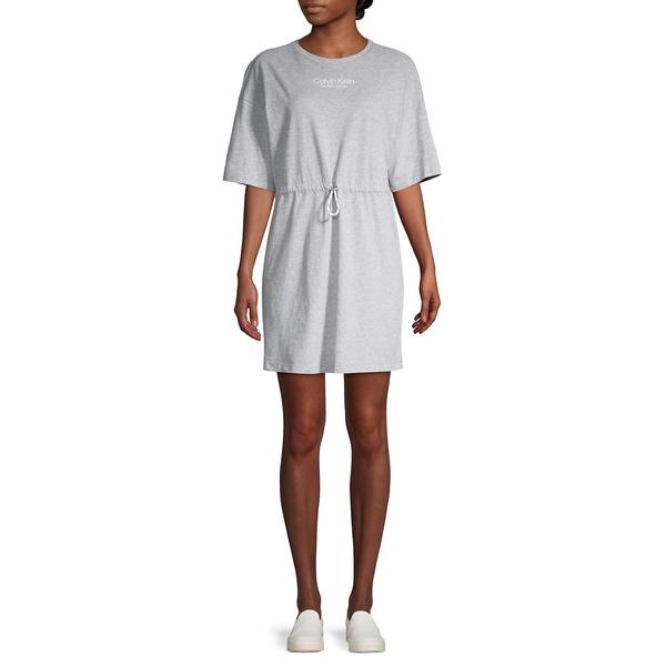 カルバンクライン レディース ワンピース トップス Logo Graphic Cotton Mini T-Shirt Dress Pearl Heather Grey