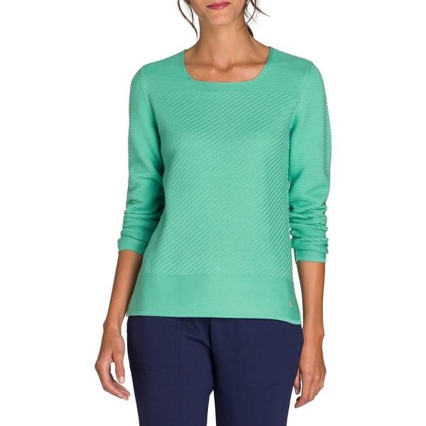 オルセン レディース ニット&セーター アウター Utility Chic Textured Squareneck Sweater Green