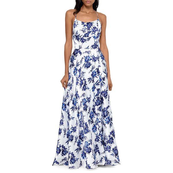 ベッツィ アンド アダム レディース ワンピース トップス Floral-Print Squareneck Gown White Blue