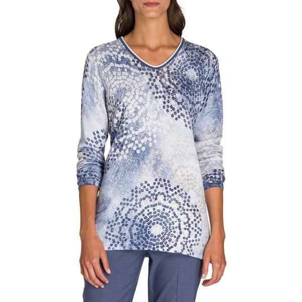 オルセン レディース ニット&セーター アウター Utility Chic Printed V-Neck Sweater Blue Indigo
