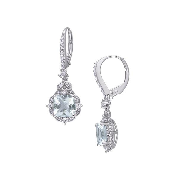 ソナティナ レディース ピアス&イヤリング アクセサリー 14K White Gold, Multi-Stone & 0.16 TCW Diamond Halo Drop Earrings Aquamarine