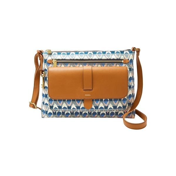 フォッシル レディース ショルダーバッグ バッグ Kinley Crossbody Bag Blue Print
