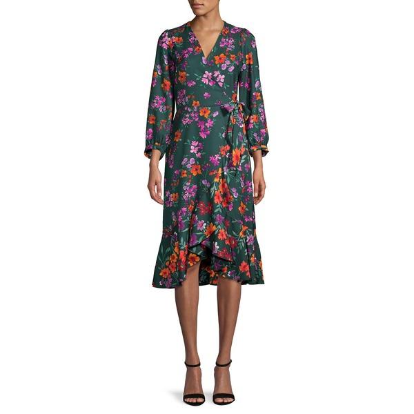 カルバンクライン レディース ワンピース トップス Floral Long-Sleeve Wrap Dress Malachite