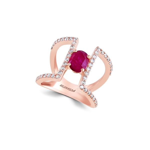 エフィー レディース リング アクセサリー Final Call Diamond, Natural Mozambique Ruby and 14K Rose Gold Ring Rose Gold