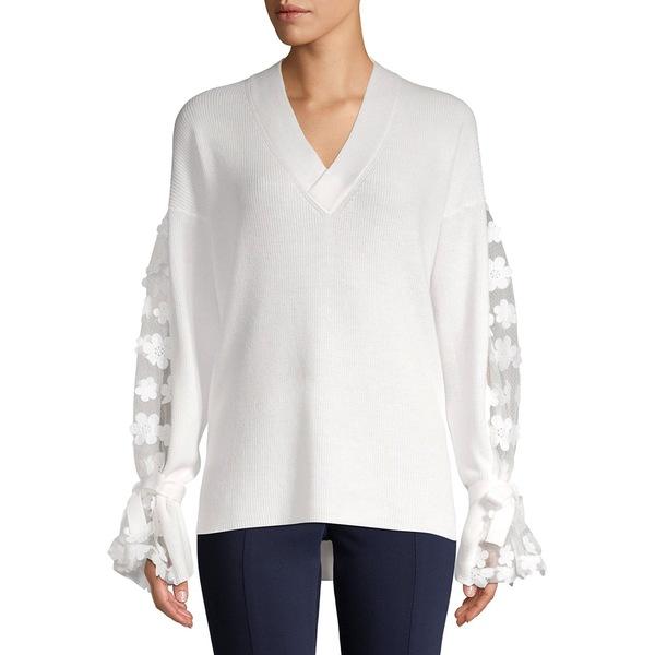 フレンチコネクション レディース ニット&セーター アウター Embroidered Sheer Long-Sleeve Ribbed Top Winter White