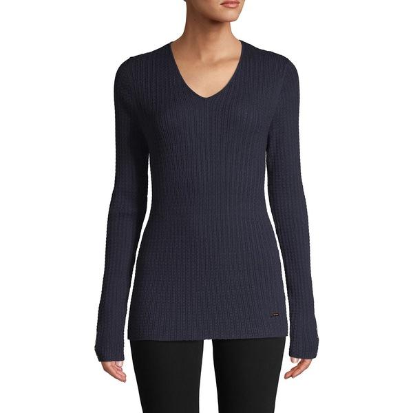 ティー・タハリ レディース ニット&セーター アウター V-Neck Logo Sweater Navy