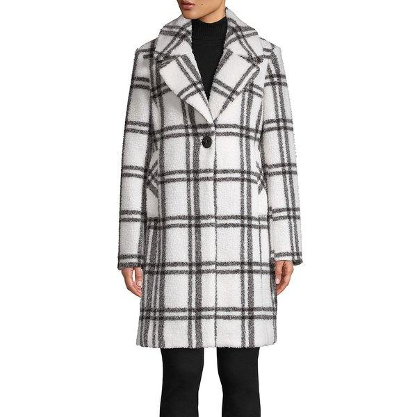 フレンチコネクション レディース コート アウター Plaid Notch-Collar Coat Black White