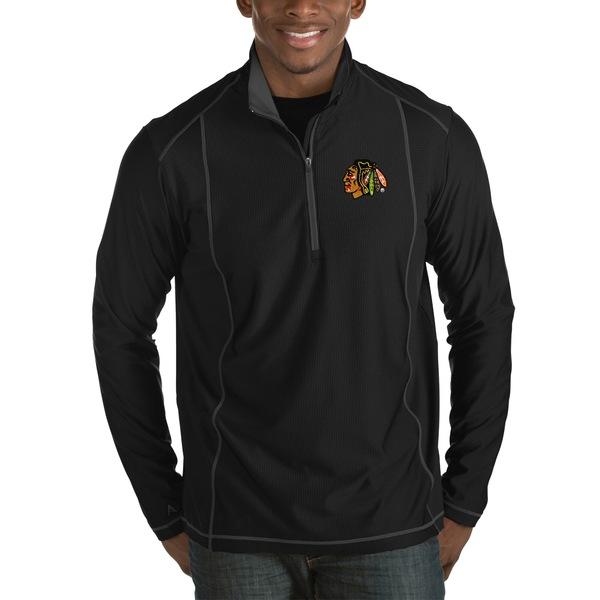 アンティグア メンズ ジャケット&ブルゾン アウター Chicago Blackhawks Antigua Tempo Desert Dry HalfZip Pullover Jacket Black