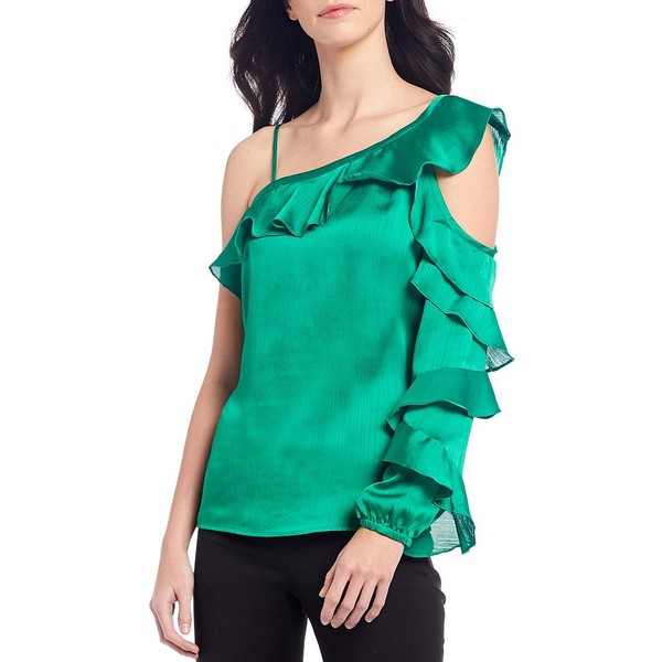 ヴィンスカムート レディース シャツ トップス Long Sleeve One Cold Shoulder Asymmetrical Ruffled Blouse Emerald