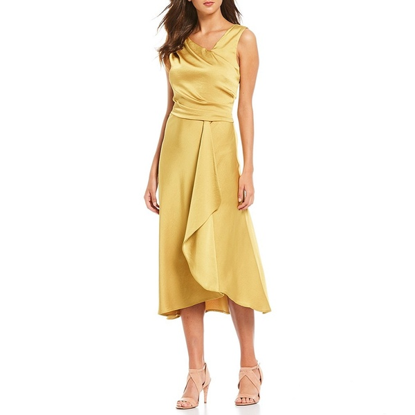 テイラー レディース ワンピース トップス Draped Crepe Back Satin Cascade Ruffle Front Detail Midi Dress Gold