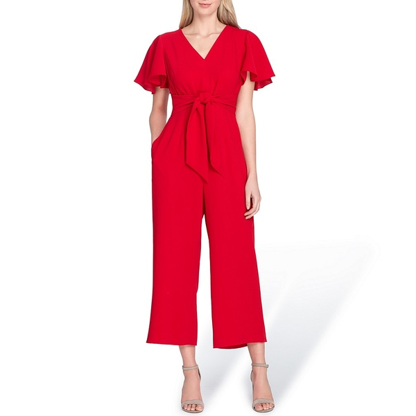 タハリエーエスエル レディース ワンピース トップス Tie Waist Flutter Sleeve V-Neck Cropped Crepe Jumpsuit Cardinal Red