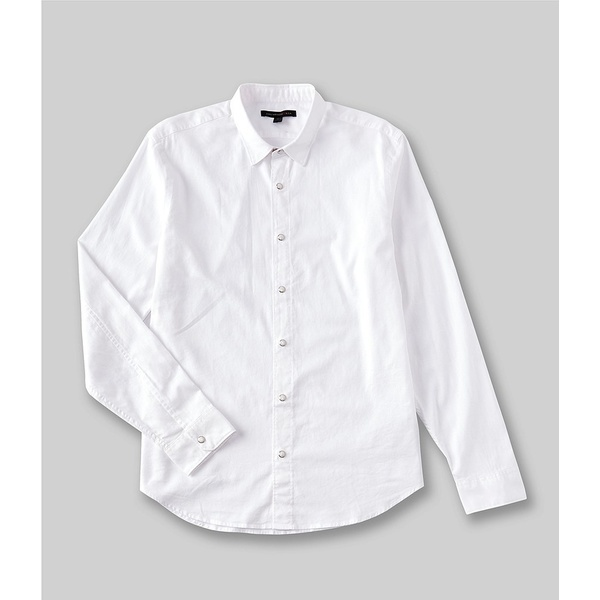 ジョンバルベイトス メンズ シャツ トップス Star USA Solid Oxford Snap-Front Stretch Long-Sleeve Woven Shirt White