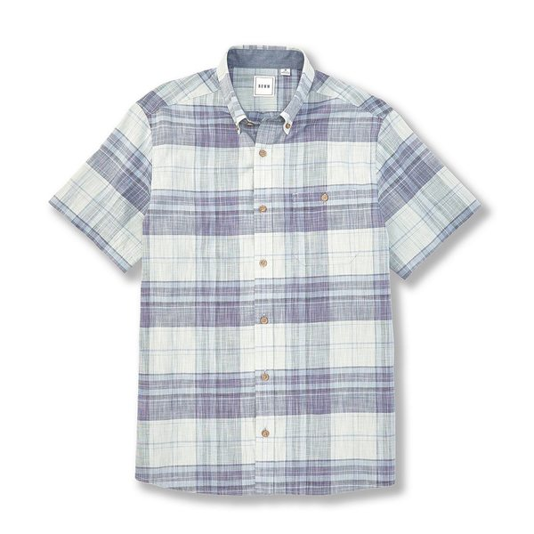 ロウン メンズ シャツ トップス Short-Sleeve Chambray Plaid Sportshirt Soft Mint