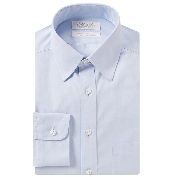 ランドツリーアンドヨーク メンズ シャツ トップス Gold Label Roundtree & Yorke Non-Iron Slim-Fit Point Collar Solid Dress Shirt Blue