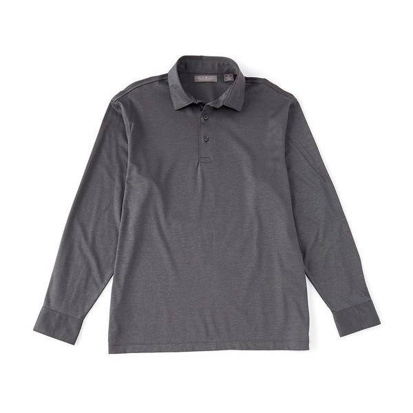 クレミュ メンズ ポロシャツ トップス Daniel Cremieux Signature Solid Jacquard Long-Sleeve Polo Shirt Grey