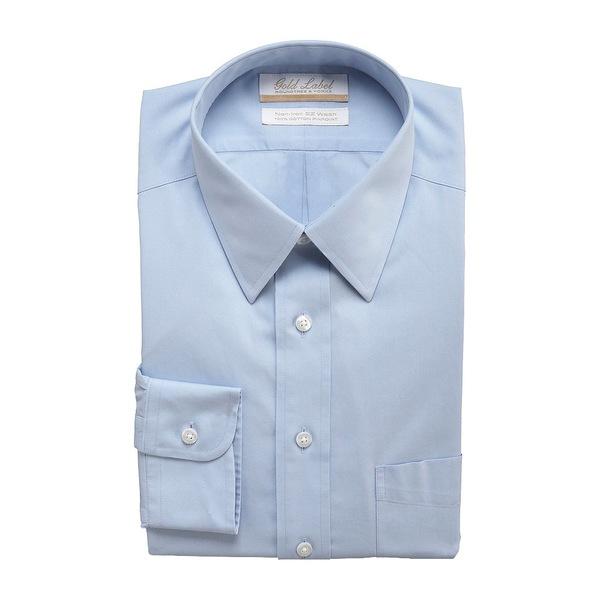 ランドツリーアンドヨーク メンズ シャツ トップス Gold Label Roundtree & Yorke Non-Iron Full-Fit Point-Collar Solid Dress Shirt Light Blue