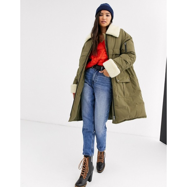 エイソス レディース コート アウター ASOS DESIGN borg paneled padded coat in khaki Khaki