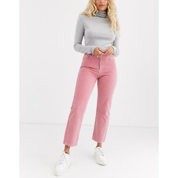エイソス レディース デニムパンツ ボトムス ASOS DESIGN Florence authentic straight leg jeans in washed coral Pink