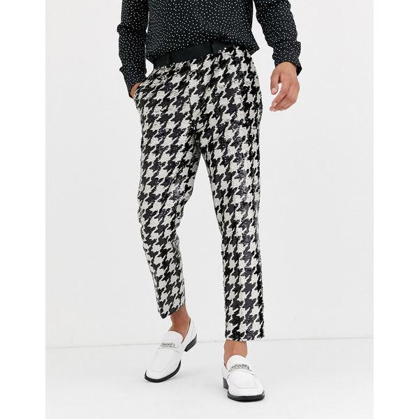 エイソス メンズ カジュアルパンツ ボトムス ASOS DESIGN tapered smart pants in all over sequin dog tooth in black and white Black