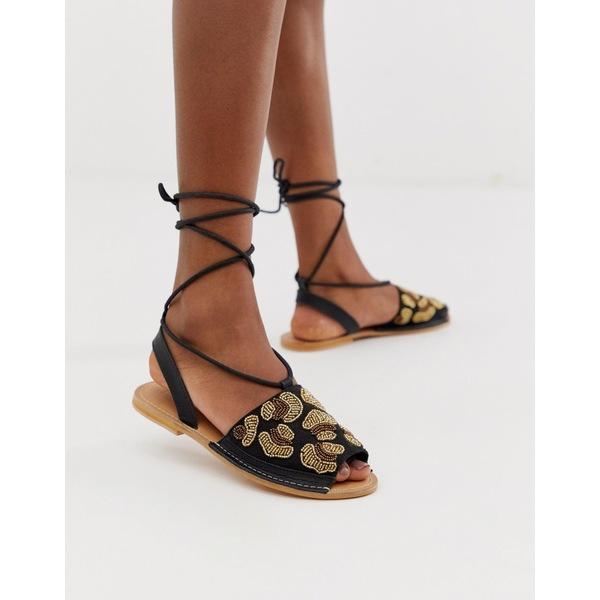 エイソス レディース サンダル シューズ ASOS DESIGN Fondi beaded leather leopard flat sandals Black