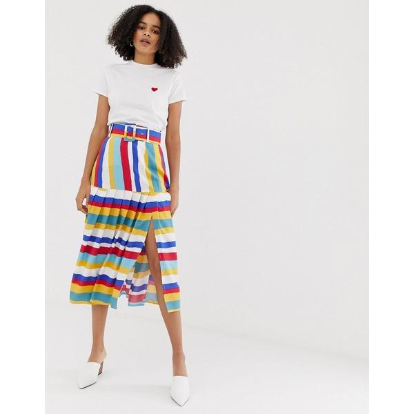 エイソス レディース スカート ボトムス ASOS DESIGN multi colored stripe pleated midi skirt with self belt Multi