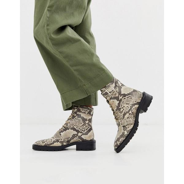 エイソス レディース ブーツ&レインブーツ シューズ ASOS DESIGN Astrid leather chunky military boots in natural snake Natural snake