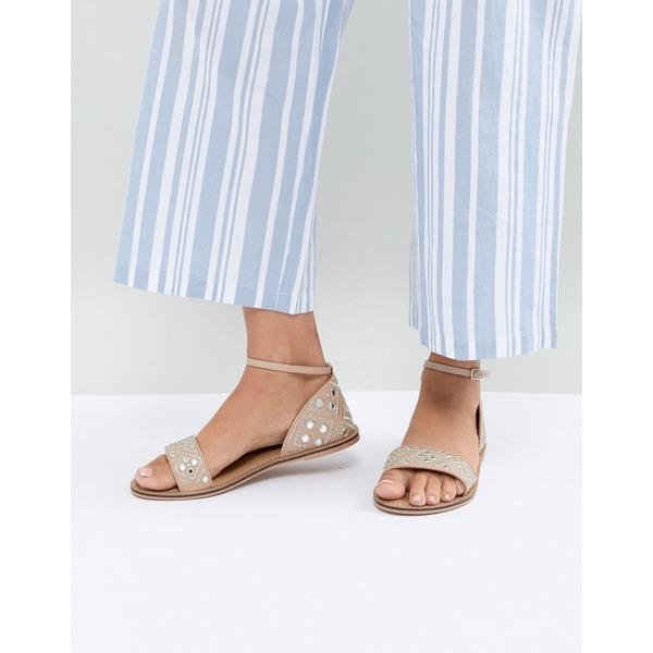アクセサライズ レディース サンダル シューズ Accessorize Marissa pink mirrored flat sandals Nude