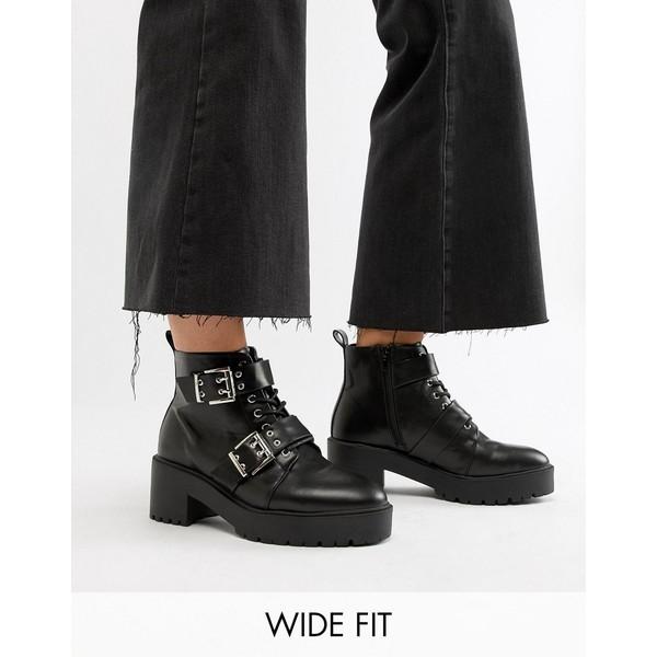 エイソス レディース ブーツ&レインブーツ シューズ ASOS DESIGN Wide Fit Rouge chunky lace up buckle boots Black