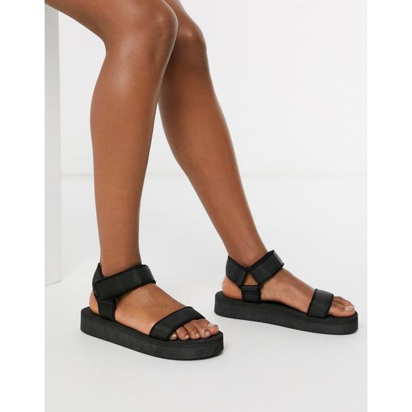 エイソス レディース サンダル シューズ ASOS DESIGN Floodlight sporty sandals in black Black