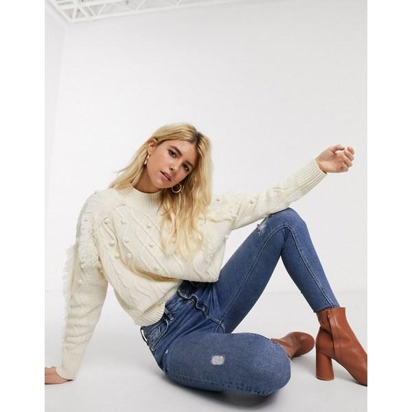 エイソス レディース ニット&セーター アウター ASOS DESIGN chunky cable sweater with fringe detail Cream