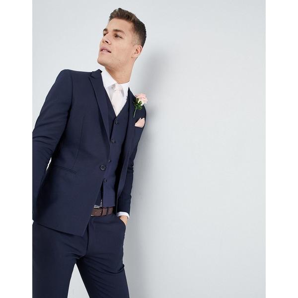 エイソス メンズ ジャケット&ブルゾン アウター ASOS DESIGN wedding skinny suit jacket with square hem in navy Navy