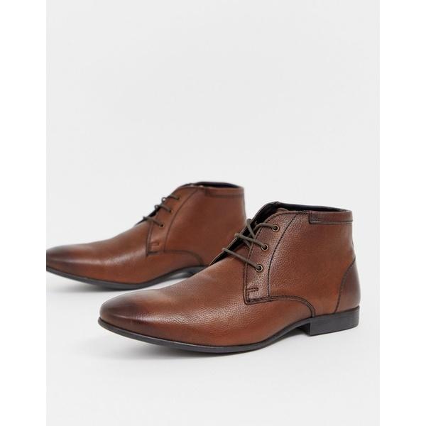 エイソス メンズ ブーツ&レインブーツ シューズ ASOS DESIGN chukka boots in brown leather Brown