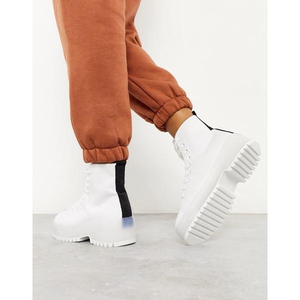 トゥラッフル レディース ブーツ&レインブーツ シューズ Truffle Collection canvas chunky lace up boot White