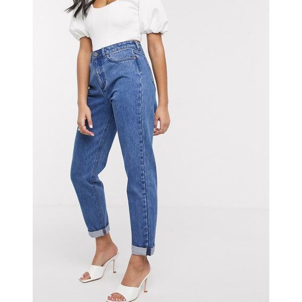 エイソス レディース デニムパンツ ボトムス ASOS DESIGN Ritson original mom jeans in vintage midwash blue Mid wash