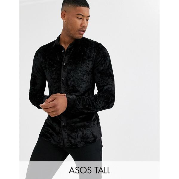 エイソス メンズ シャツ トップス ASOS DESIGN Tall stretch slim fit crushed velvet shirt in black Black