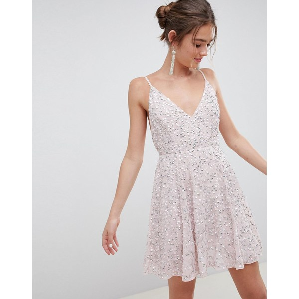 エイソス レディース トップス ワンピース Dusty pink 全商品無料サイズ交換 エイソス レディース ワンピース トップス ASOS DESIGN delicate sequin plunge mini dress with full skirt Dusty pink