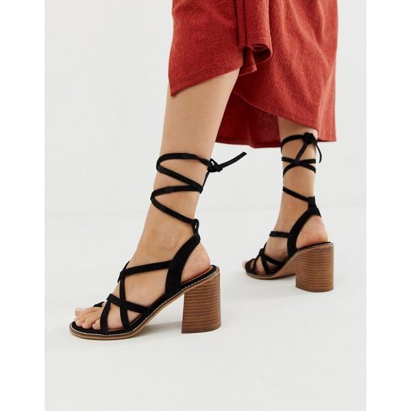 エイソス レディース サンダル シューズ ASOS DESIGN Trivia suede tie leg heeled sandal Black