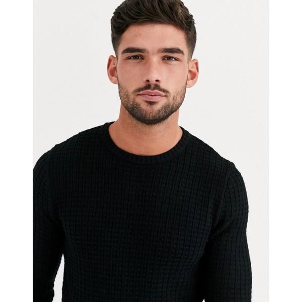エイソス メンズ ニット&セーター アウター ASOS DESIGN muscle fit textured knit sweater in black Black