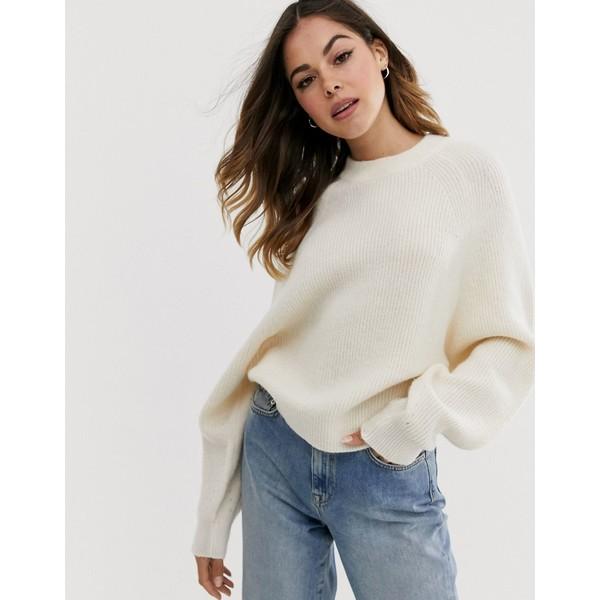 エイソス レディース ニット&セーター アウター ASOS DESIGN fluffy sweater with balloon sleeve Cream