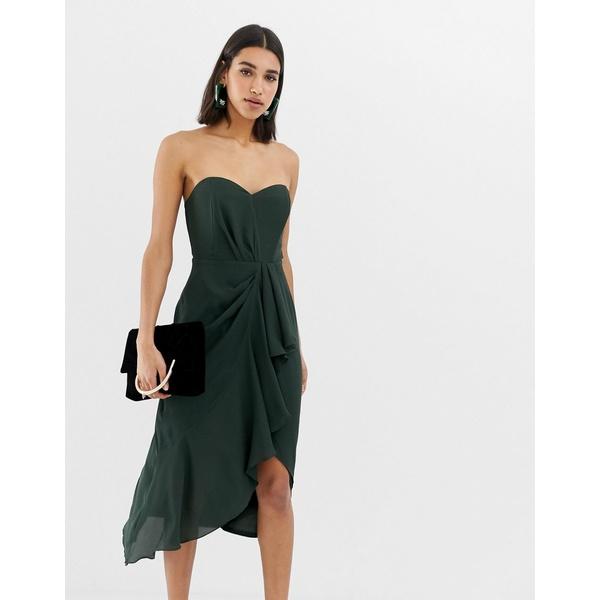 エイソス レディース ワンピース トップス ASOS DESIGN structured bandeau midi dress with drape front Forest green