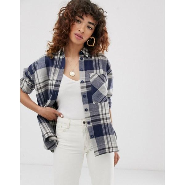 エイソス レディース シャツ トップス ASOS DESIGN long sleeve heavy brushed check shirt with pocket detail Multi