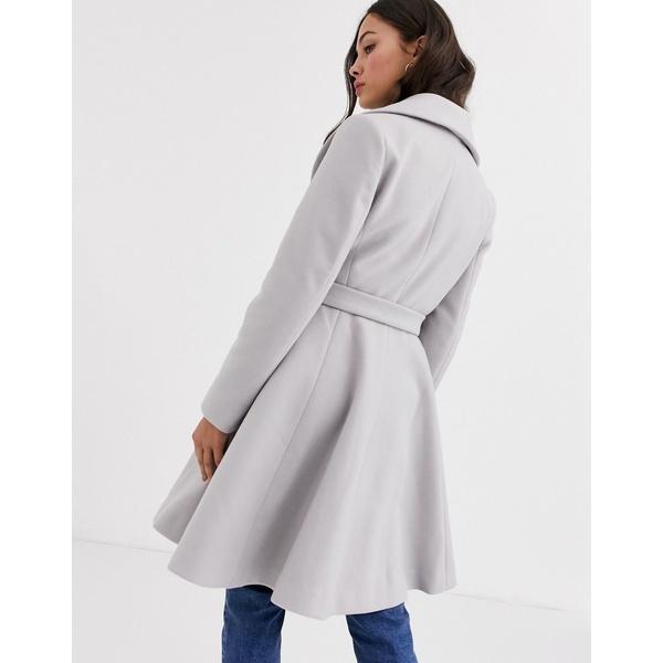 エイソス レディース コート アウター ASOS DESIGN longline belted skater coat in gray Gray