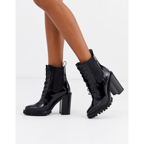 エイソス レディース ブーツ&レインブーツ シューズ ASOS DESIGN Ellen chunky lace up ankle boots in black Black