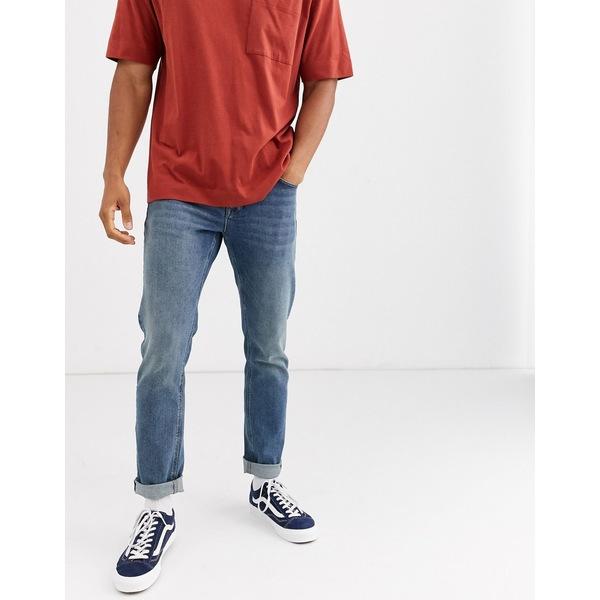 エイソス メンズ デニムパンツ ボトムス ASOS DESIGN stretch slim jeans with exposed button fly in vintage mid wash Mid wash vintage