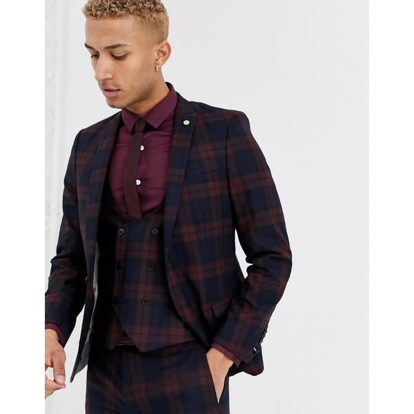ツイステッドテイラー メンズ ジャケット&ブルゾン アウター Twisted Tailor Ginger super skinny fit suit jacket in burgundy check Burgundy