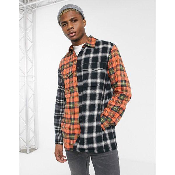 レリジョン メンズ シャツ トップス Religion spliced check shirt in black and orange Black/orange
