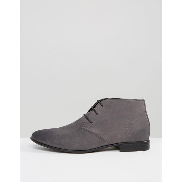 エイソス メンズ ブーツ&レインブーツ シューズ ASOS DESIGN chukka boots in gray faux suede Gray