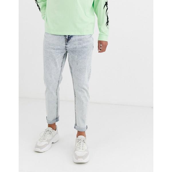 エイソス メンズ デニムパンツ ボトムス ASOS DESIGN tapered jeans in bleach acid wash Blue acid