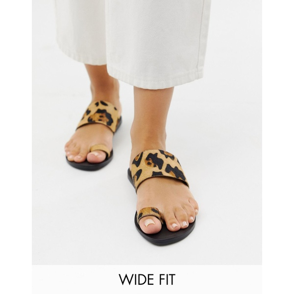 エイソス レディース サンダル シューズ ASOS DESIGN Wide Fit Faro leather toe loop flat sandals in leopard print Leopard